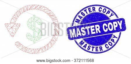 Web Carcass Dollar Refund Icon And Master Copy Seal. Blue Vector Rounded Distress Seal With Master C