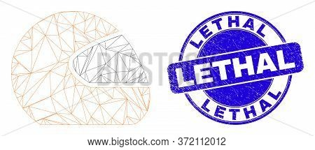 Web Mesh Motorcycle Helmet Icon And Lethal Seal Stamp. Blue Vector Rounded Textured Stamp With Letha