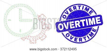 Web Mesh Time Settings Gear Pictogram And Overtime Stamp. Blue Vector Round Grunge Seal Stamp With O