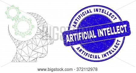 Web Carcass Head Gears Pictogram And Artificial Intellect Stamp. Blue Vector Round Distress Seal Sta