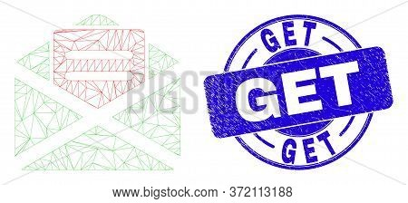 Web Carcass Open Mail Icon And Get Seal Stamp. Blue Vector Round Grunge Seal Stamp With Get Message.