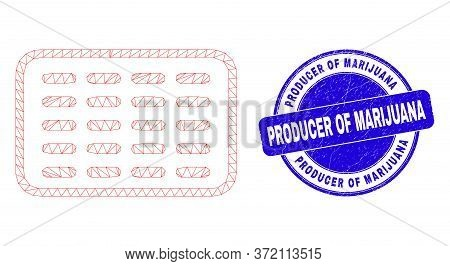 Web Mesh Pills Blister Pictogram And Producer Of Marijuana Watermark. Blue Vector Rounded Scratched