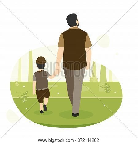 Vector Illustration Of Dad And Son Walking Together In The Forest, Bearded Adult Father Holding His