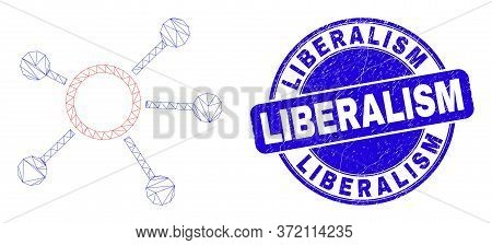 Web Mesh Links Icon And Liberalism Seal Stamp. Blue Vector Rounded Scratched Stamp With Liberalism C