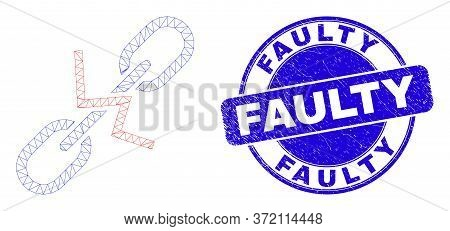 Web Mesh Break Chain Pictogram And Faulty Watermark. Blue Vector Rounded Textured Seal Stamp With Fa