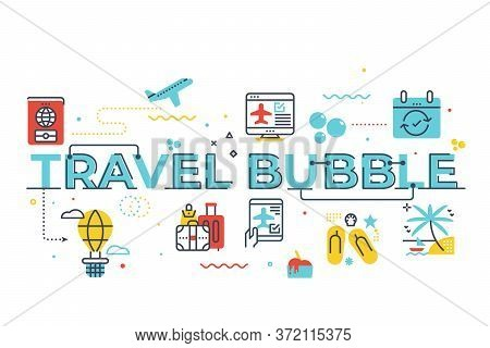 Travel Bubble Word Lettering Illustration With Icons For Web Banner, Flyer, Landing Page, Presentati