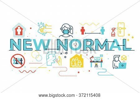 New Normal Word Lettering Illustration With Icons For Web Banner, Flyer, Landing Page, Presentation,