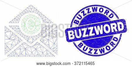 Web Mesh Euro Mail Icon And Buzzword Seal. Blue Vector Round Textured Seal Stamp With Buzzword Messa