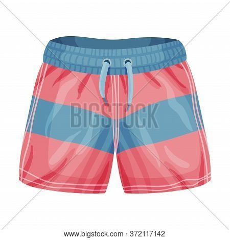 Loose-fitting Male Elastic Brief Sportive Shorts Isolated On White Background Vector Illustration