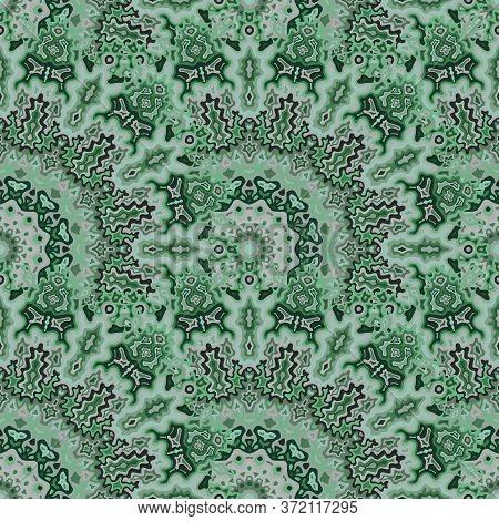 Kaleidoscope Geometric Seamless Ornament. Turkish Ethnic Vector Composition. Tangle Vintage Kaleidos