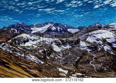 Rocks And Snow On Peaks Summit In The Middle Of Cordillera Real Mountain Range. A Large Mountain Reg