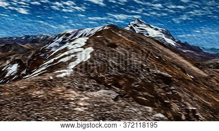 Rocks And Snow On The Chacaltaya Peak Summit In The Middle Of Cordillera Real Mountain Range. A Larg