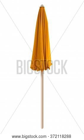 Closed Yellow Beach Umbrella Isolated On White. Clipping Path Included.