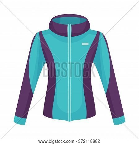 Sportive Zippered Track Jacket With Long Sleeves Vector Illustration