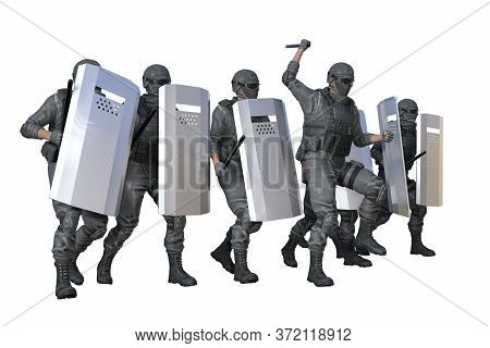 Police Special Forces Marching And Attacking On Revolt Isolated On White Background - Protest Stoppi