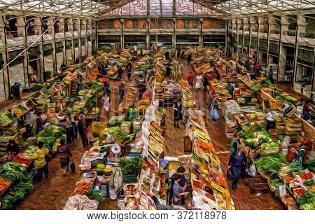 Public Food Market With Stalls Displaying Fruits And Vegetables In Lisbon. This Charming City Is The