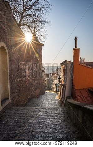 Panorama Of Prague From The Stairs Of The Old Castle Leading To Prague Castle, Czech Republic, Old T