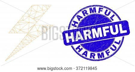 Web Carcass Flash Icon And Harmful Watermark. Blue Vector Round Scratched Watermark With Harmful Phr