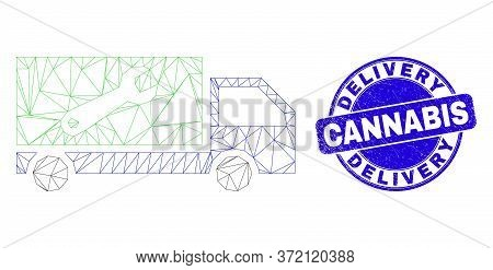 Web Mesh Repair Lorry Pictogram And Delivery Cannabis Seal Stamp. Blue Vector Rounded Scratched Seal