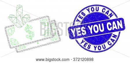 Web Carcass Income Banknotes Icon And Yes You Can Seal Stamp. Blue Vector Rounded Grunge Stamp With