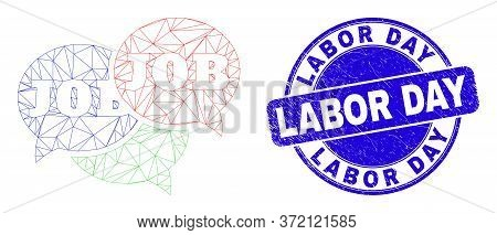 Web Mesh Job Forum Messages Icon And Labor Day Seal Stamp. Blue Vector Rounded Distress Seal Stamp W