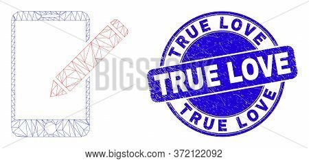 Web Mesh Edit Phone Records Pictogram And True Love Seal Stamp. Blue Vector Rounded Grunge Seal Stam