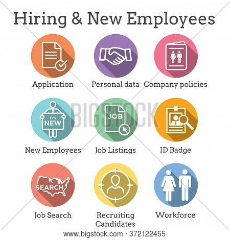 Hiring And Employees Icons W Job Related Images Showing Hiring