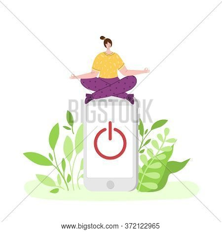Digital Detox - Happy Girl Is Meditating And Relaxing. Miniature Woman In Lotus Pose And Huhe Mobile