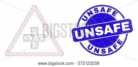 Web Carcass Medical Warning Triangle Pictogram And Unsafe Seal Stamp. Blue Vector Rounded Distress S