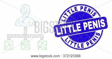 Web Mesh User Links Icon And Little Penis Watermark. Blue Vector Rounded Scratched Watermark With Li