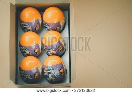 Samut Prakan, Thailand - June 18, 2020 : Toy Eggs Surprise Mini Blocks Of Thai Car From Loz Creator