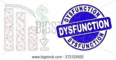Web Mesh Financial Epic Fail Chart Pictogram And Dysfunction Seal Stamp. Blue Vector Rounded Scratch
