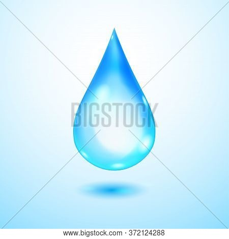 One Big Realistic Translucent Water Drop In Blue Colors With Shadow