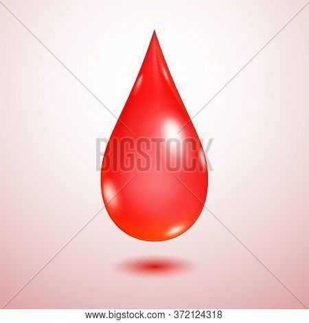 One Big Realistic Translucent Water Drop In Red Colors With Shadow