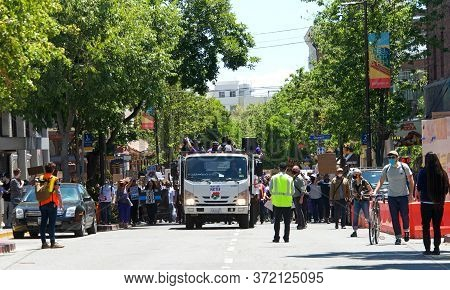 Berkeley, Ca - June 13, 2020: Hundreds Of People Participating In A Black Lives Matter Protest, Prot