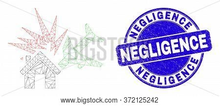 Web Mesh Airplane Disaster Icon And Negligence Seal Stamp. Blue Vector Rounded Distress Seal Stamp W