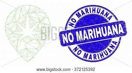 Web Carcass Cannabis Map Marker Pictogram And No Marihuana Seal Stamp. Blue Vector Rounded Grunge Se