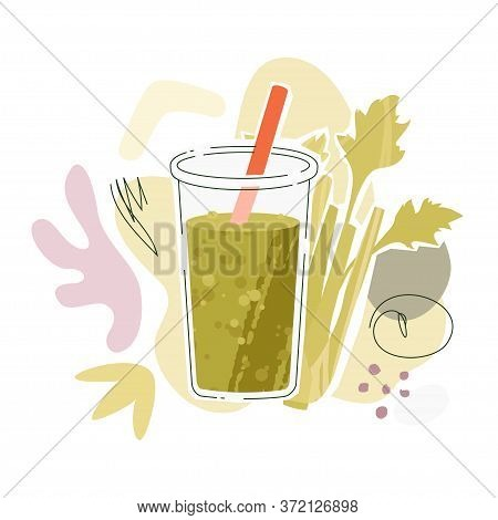 Celery Juice In Glass With Orange Straw. Vector Illustration With Celery Stalks And Abstract Shapes