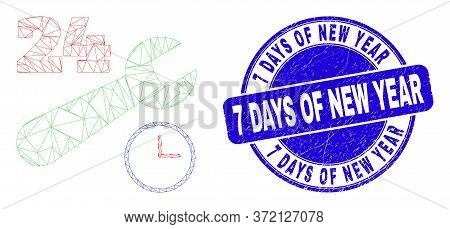 Web Mesh 24-7 Repair Service Icon And 7 Days Of New Year Seal Stamp. Blue Vector Round Grunge Seal S