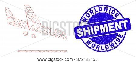 Web Mesh Airplane Landing Icon And Worldwide Shipment Seal. Blue Vector Round Grunge Seal With World