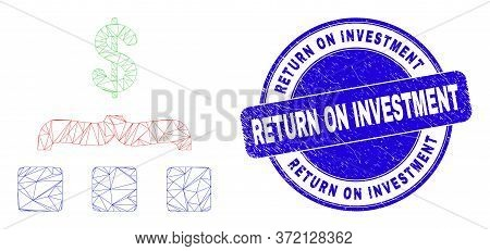 Web Carcass Dollar Aggregation Pictogram And Return On Investment Stamp. Blue Vector Rounded Texture