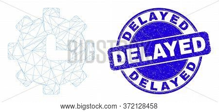 Web Mesh Clock Settings Pictogram And Delayed Seal. Blue Vector Round Textured Seal Stamp With Delay