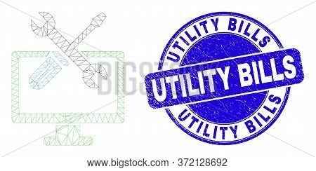 Web Mesh Desktop Options Pictogram And Utility Bills Seal Stamp. Blue Vector Rounded Distress Stamp
