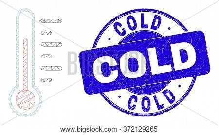 Web Carcass Thermometer Icon And Cold Seal Stamp. Blue Vector Round Grunge Seal Stamp With Cold Mess