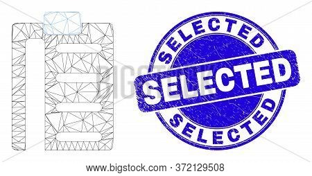 Web Carcass Pad List Items Pictogram And Selected Stamp. Blue Vector Round Textured Seal Stamp With