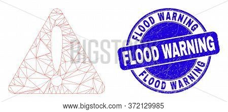Web Mesh Warning Icon And Flood Warning Seal Stamp. Blue Vector Rounded Distress Stamp With Flood Wa