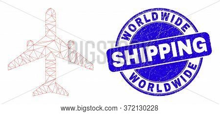 Web Mesh Airplane Pictogram And Worldwide Shipping Stamp. Blue Vector Round Textured Seal Stamp With