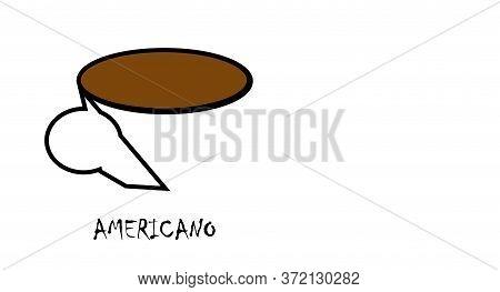 Americano Coffee Mug With Drink On White Background