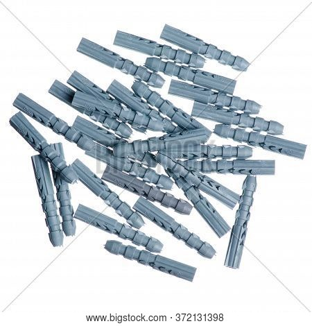 Plastic Dowels Tool On White Background Isolation, Top View