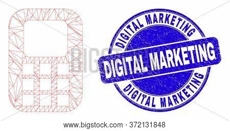 Web Carcass Cellphone Icon And Digital Marketing Watermark. Blue Vector Rounded Textured Watermark W